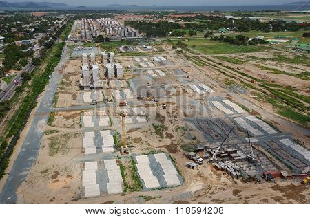 Aerial view of the construction site of a residential area in Venezuela