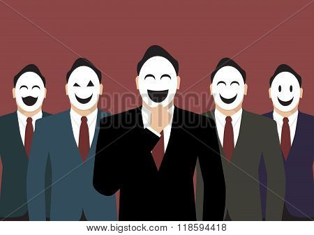 Businessmen Wearing A Various Mask