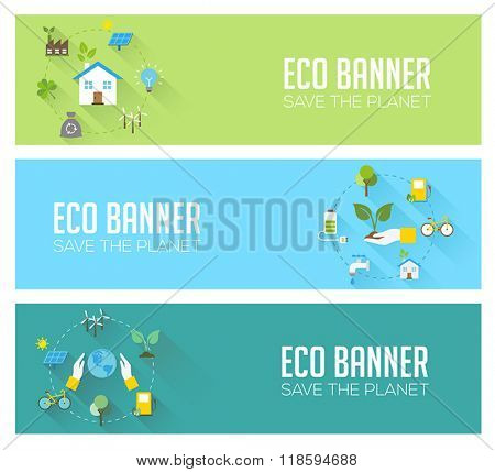 Eco banners - ecology, renewable energy, nature protection, sustainable development. Modern flat design style, vector concept.