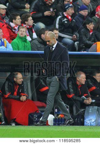 MUNICH, GERMANY - MARCH 11 2015: Bayern Munich's manager Josep Guardiola during the UEFA Champions League match between Bayern Munich and FC Shakhtar Donetsk.