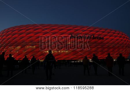 MUNICH, GERMANY - MARCH 11 2015: A general view as fans arrive at the ground before the UEFA Champions League match between Bayern Munich and FC Shakhtar Donetsk.