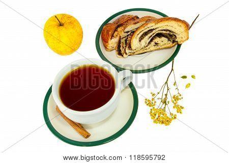 Tea Cinnamon Sticks Roll With Poppy Seeds And Apple
