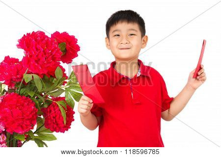 Asian Little Boy Holding A Red Envelope