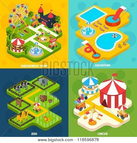 Amusement Park Isometric 4 Icons Square