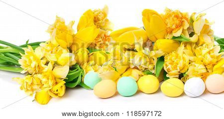 Daffodils, Tulips, Easter Eggs