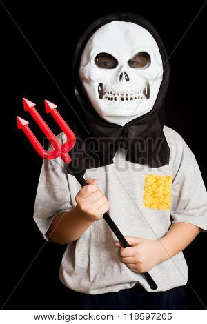 A boy Wearing Skull Mask With Trident
