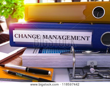 Blue Office Folder with Inscription Change Management.