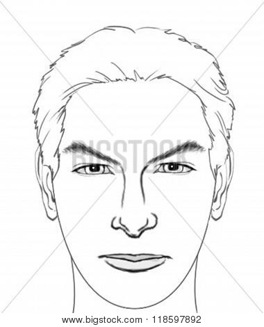 Face Drawing (Outline - Man)