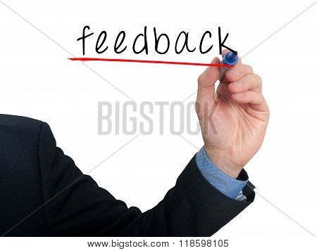 Businessman Hand Writing Feedback In The Air- White - Stock Photo
