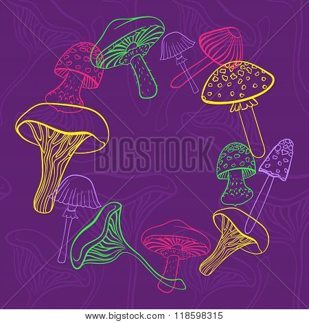 Circular frame of different hand drawn mushrooms in bright colors on purple backgraund. Can be used