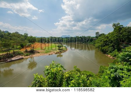 The Curve Of River Kwai At Kanchanaburi, Thailand