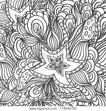 Background with doodle starfishes seaweeds  for coloring page