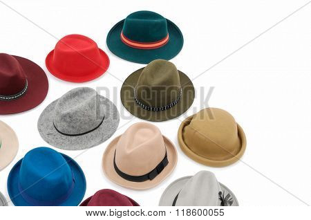 Top view many woman hat