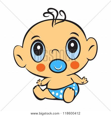 Funny Baby Boy. Cute Baby Boy Sitting In A Diaper Isolated