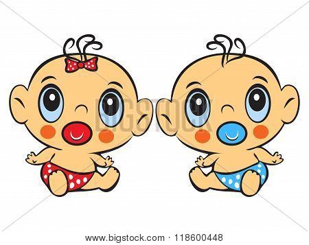 Two Funny Baby Sitting. Cute Baby Boy And Girl Sitting In A Diaper Isolated
