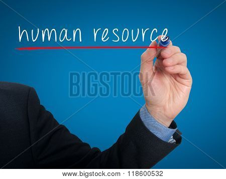 Businessman Hand Writing Human Resource In The Air