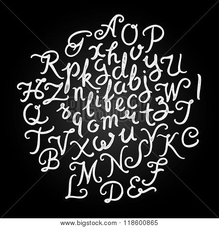 Handwritten alphabet vector font. Hand drawn brush script letters on black background. Stock vector lettering typography