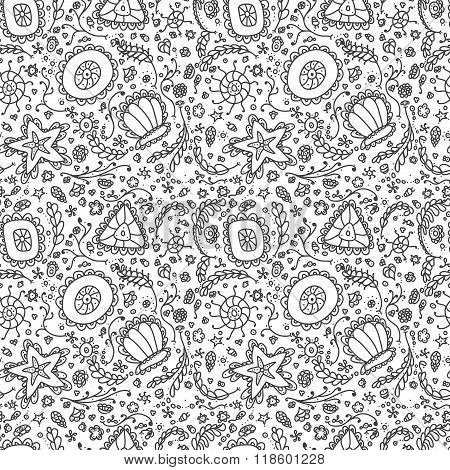 Handmade seamless pattern or background with abstract protozoa or abstract plankton in black white f