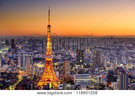 Tokyo, Japan cityscape with Tokyo TOwer.