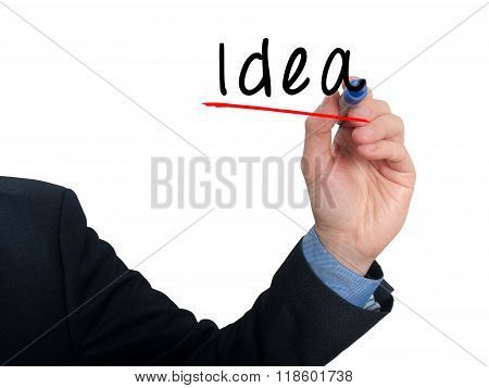 Business Man Writing Idea In The Air