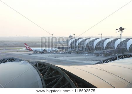 Bangkok, Thailand - February 17, 2016: Suvarnabhumi Airport Interior. Suvarnabhumi Airport Is One Of