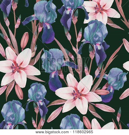 Floral seamless pattern with watercolor blue iris and white lilies