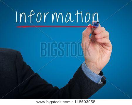 Businessman Hand Writing Information