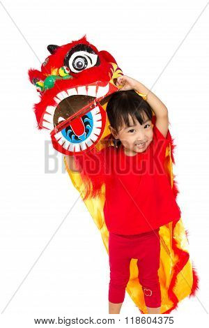 Asian Little Girl In Chinese Lion Custome Dance During Chinese New Year Celebration