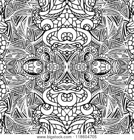 Abstract vector swirl ethnic seamless pattern.Symmetry