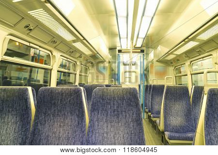 Inside of commuter train compartment