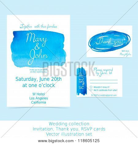 Collection of wedding design cards. Invitation, RSVP, thank you. Blue and turquoise watercolor hand