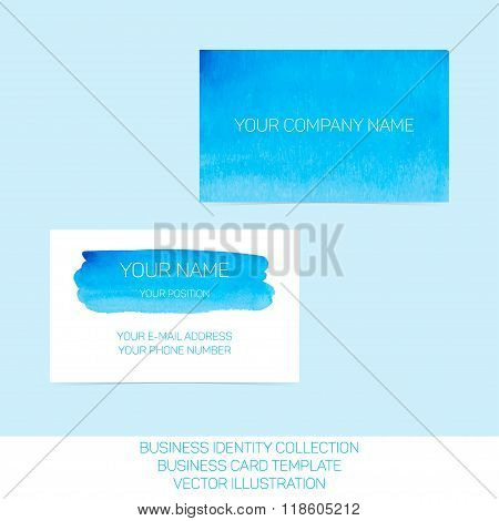 Business identity collection. Blue and turquoise watercolor. Front and back sides for business card