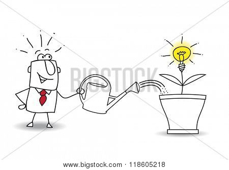 this businessman waters the tree and an idea bulb. It's a metaphor of somebody who want find a brilliant idea