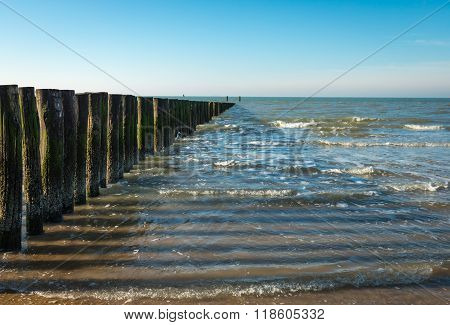 North Sea Breakwater At Low Tide