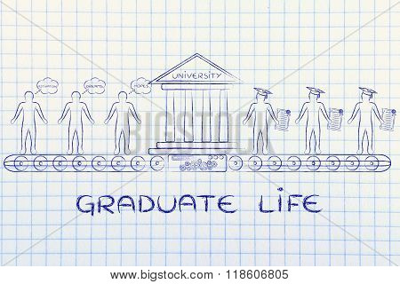 Graduate Life, University Machine Producing Graduates