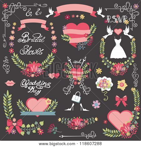 Bridal shower decor kit.Floral wreath,heart.Wedding
