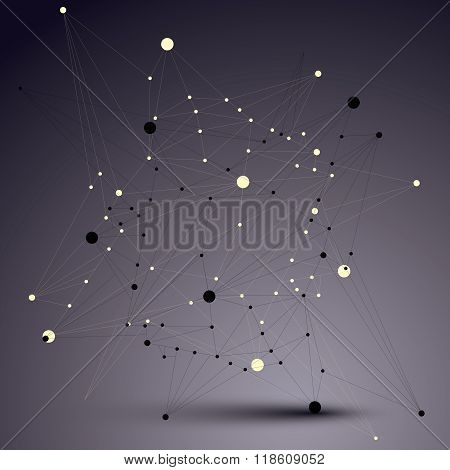 3D Mesh Contemporary Technology Abstract Vector Object, Lattice Futuristic Form With Wire Mesh. Futu
