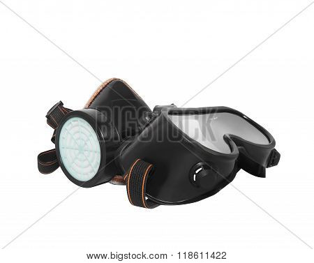 Isolated rubber worker mask & glasses.