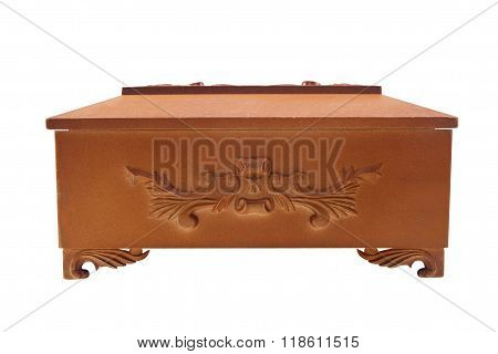 Isolated wooden casket profile view.