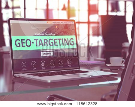 Geo-Targeting Concept on Laptop Screen.