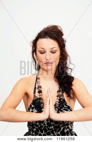 Prayer yoga meditation woman
