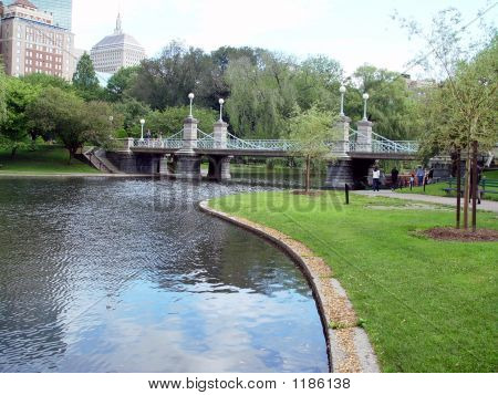 Boston Public Gardens Bridge And Pond