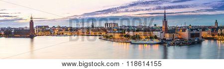 Scenic Summer Night Panorama Of  Stockholm, Sweden