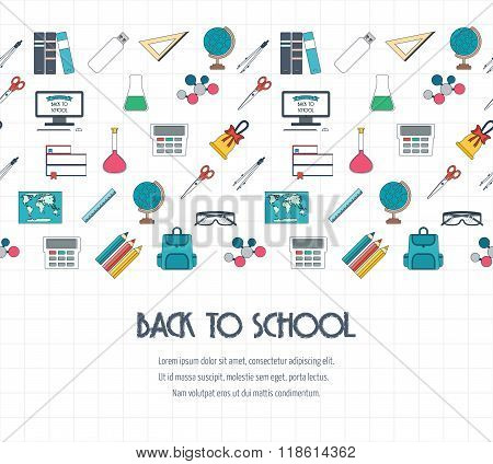Back To School Banner, Background, Concept With Seamless Border. Flat Design. Vector