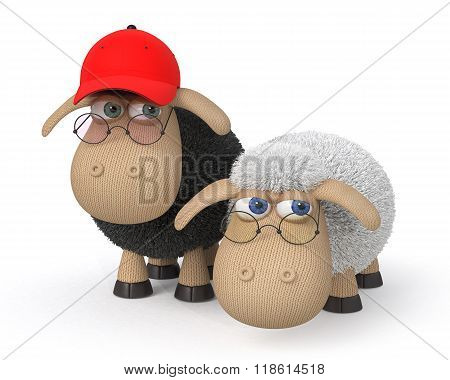 3D Ridiculous Sheep Wearing Spectacles