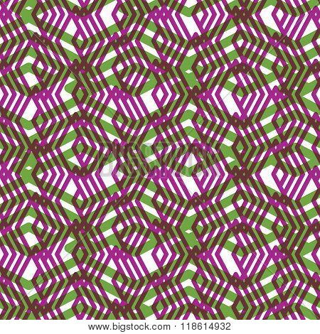Geometric Symmetric Lined Seamless Pattern, Colorful Vector Endless Background. Decorative Net Splic