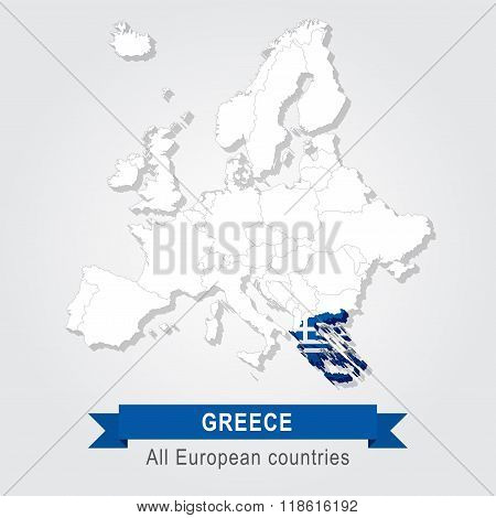 Greece. Europe administrative map.