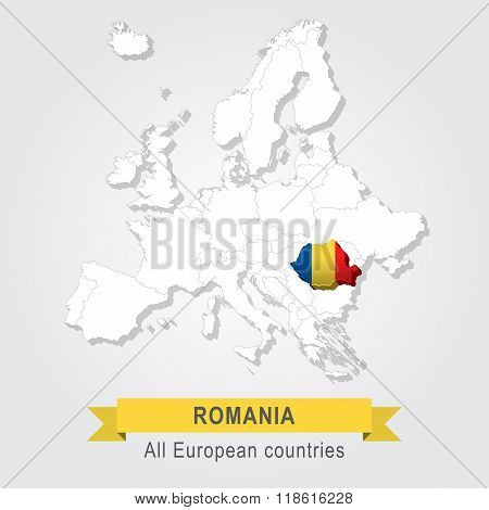 Romania. Europe administrative map.