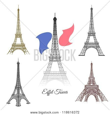 Hand drawn Eiffel Tower in Paris vector
