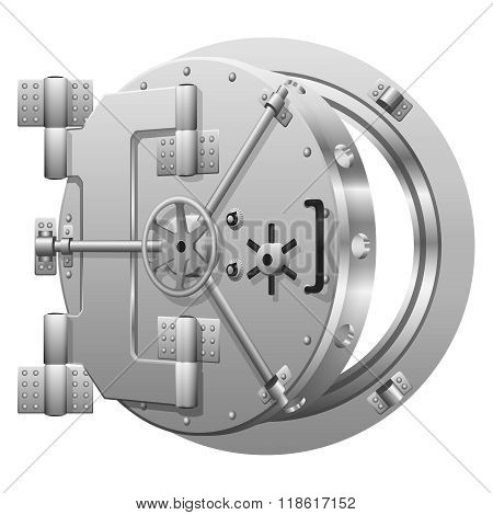 Half-open bank vault door on white